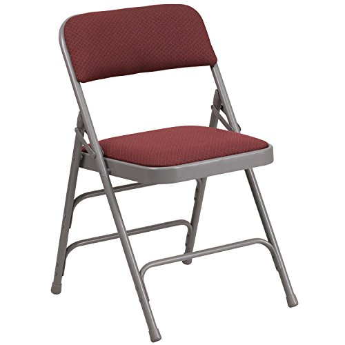 Flash Furniture HERCULES Series Curved Triple Braced & Double Hinged Burgundy Patterned Fabric Metal Folding Chair