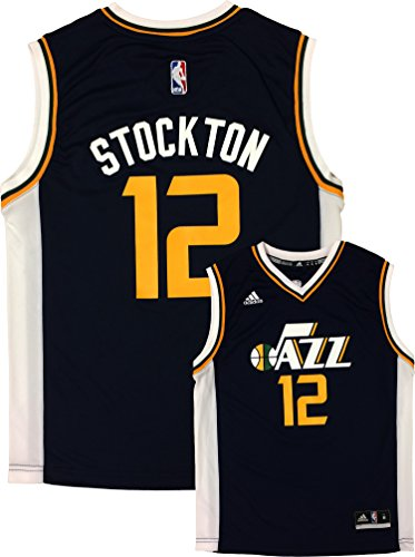 adidas John Stockton Utah Jazz #12 Navy Youth Away Replica Jersey