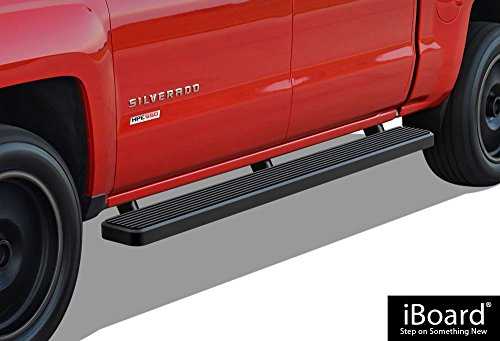 APS iBoard (Black Powder Coated 6 inches) Running Boards | Nerf Bars | Side Steps | Step Rails for 2001-2013 Chevy Silverado/GMC Sierra 1500 Crew Cab & 2001-2014 2500/3500 (Excl. C/K Classic)