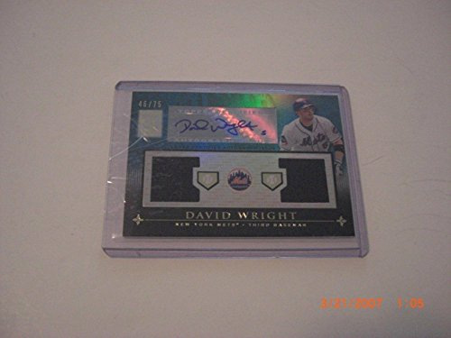 David Wright 2010 Topps Tribute Game Used Dual Jersey Auto 46/75 Signed Card - Baseball Autographed Game Used Cards David Wright Signed Jersey