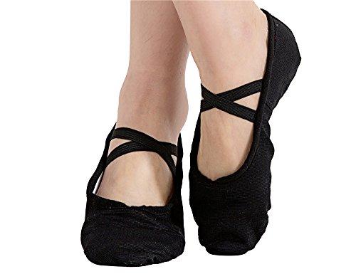 Girls Canvas Split-sole Ballet Slippers Practice Dancing Yoga Flat Shoes(1.5, Black)