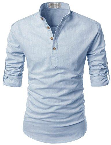 NEARKIN (NKNKN350) Beloved Men Henley Neck Long Sleeve Daily Look Linen Shirts SKY US M(Tag size M) (Han Solo Costume Shirt)