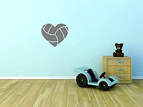 Decal Wall Sticker - ON SALE NOW : Heart Volleyball Sports Quote Text Lettering Boy Girl Kids Teen Men Women Home Decor Picture Art Size :16 Inches x 16 (Dark Purple Wallpaper)