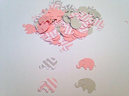 Elephant Confetti - Elephant Baby Shower Pink Chevron Elephant Pink Gray Elephant Confetti Elephant Cut Out Elephant Theme Baby Shower Pink Elephant Confetti, 100 pieces
