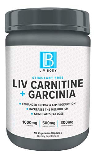 LIV Body | LIV Carnitine + Garcinia | Stimulant Free, 1000mg of Carnitine, 500mg of Garcinia Cambogia & 300mg of Green Coffee Bean