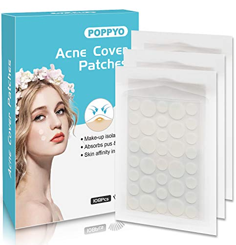 Acne Patch(108 Count), Poppyo Acne Care Pimple Patch Absorbing Round Pads, Blemish Covers – Hydrocolloid Bandages(2…