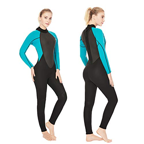 REALON Womens Wetsuit Full 3mm Neoprene Surfing Scuba Diving Snorkeling Swimming Suit (Black Blue 3mm, XL)