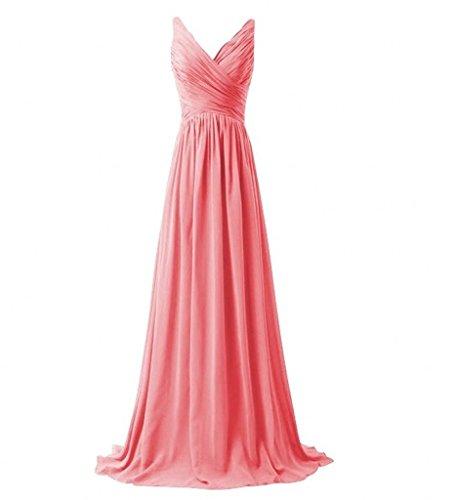 Partykleider Zwei Rock Wassermelon Bride Abendkleider linie V Brautjungfernkleider A ausschnitt Einfach Lang Milano traeger qSnw1064