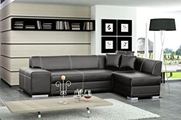 Sofas4less New Catania Leather Corner Sofa Suite Storage Double