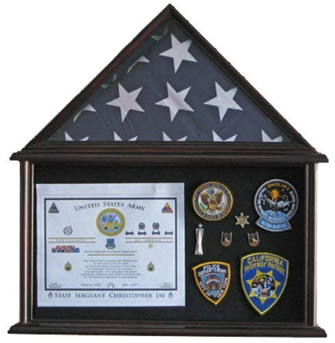 Military Shadow Box Flag Display Case Stand Frame for 4
