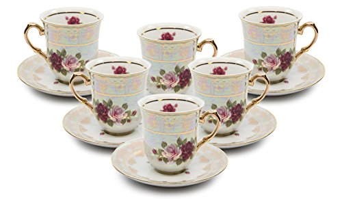 Royalty Porcelain 12-pc Tea Cup Set, Cups and Saucers, Vintage Cobalt Rose Floral Pattern, Bone China Tableware