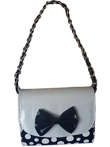 Minnie Mouse Style Polka Dots Girl Mini Handbag with Handle and Additional Shoulder Strap (Black) - Black Mini Dot
