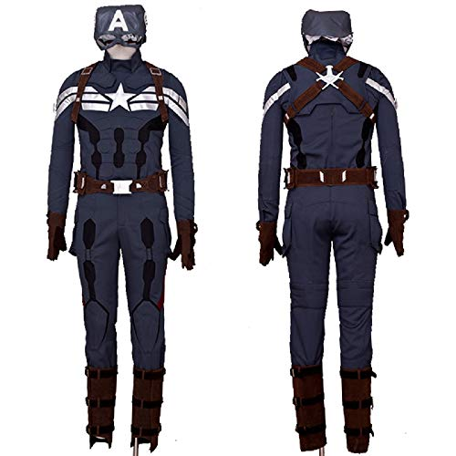 Superhero CA Cosplay Battle Costume Deluxe Mens Full Set Outfits with Mask XL
