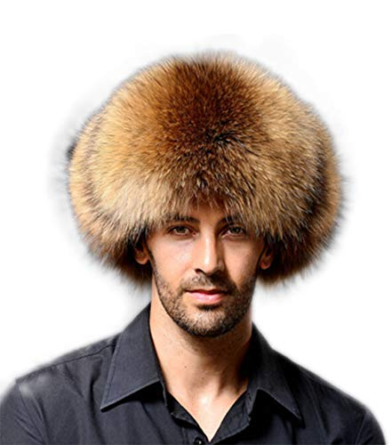 Bow Men Winter Warm Leather Bomber Hat Trooper Trapper Hat Soft Thick Fur Hat (Brown)