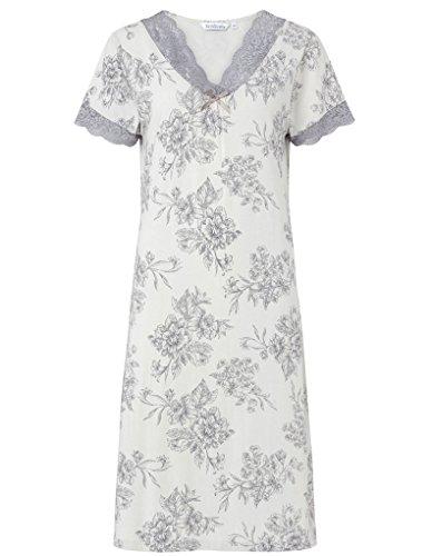 """Slenderella Nachthemd 38"""" mit kurzen Ärmeln und V-Ausschnitt aus Baumwollgemisch ND6121"""