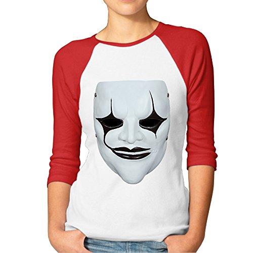 GOww Women's Music Slipknot Face Logo 3/4 Sleeve Baseball T -