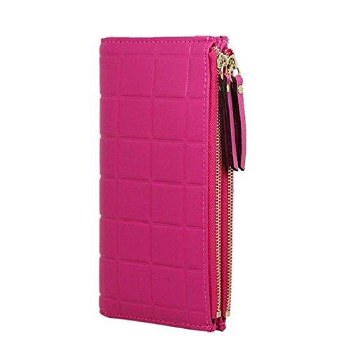Femmes Holder Case Wallet Card Cuir En Long Purse Rouge Mode D'embrayage Élégantes Rose Et Main Sac Feitong À BRqxAwnSC