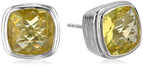[Sterling Silver and Yellow Quartz Square Cut, Textured Earrings] (Square Cut Lemon)