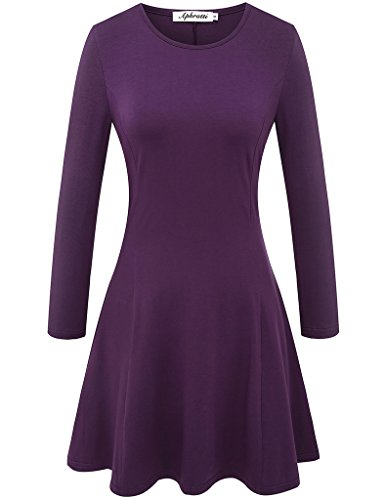 Aphratti Women's Long Sleeve Casual Slim Fit Crew Neck Dress Large Purple
