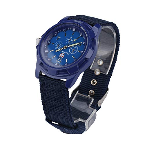 Alalaso Simple Quartz Wrist Watch, Solider Military Army Green Dial Army Sport Style Watch Buckle Clasp (Navy)