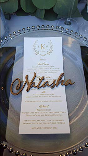 st names Personalized place cards Name place settings Acrylic wedding sign Rustic Laser cut names Custom name tags for wedding invitation Wood Escort cards Calligraphy Modern Font ()