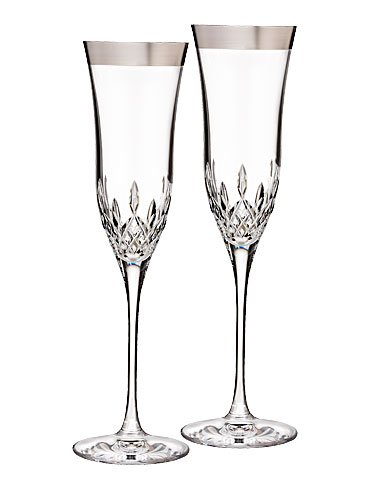 Lismore Essence Platinum (Wide Band) Flute, Pair (Platinum Glass Champagne)