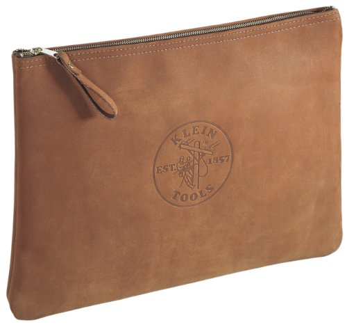 Klein Tools 5136 Contractor's Leather Portfolio with Heavy Duty Zipper Close