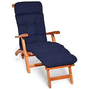 Beautissu Flair DC Cojín- colchoneta para Tumbona reclinable 200x50x8cm con Relleno de gomaespuma – Azul Marino Elegir