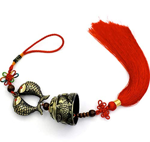 (DMtse Chinese Lucky Feng Feng Shui Vintage Bell for Wealth and Safe, Success, Ward Off Evil, Protect Peace - Home Garden Car Interiors Hanging Charm Wind Chime Good Luck Blessing)