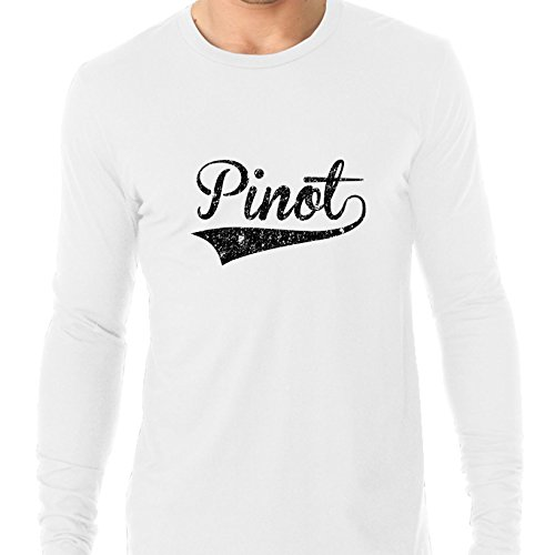 (Hollywood Thread Trendy Simple Pinot Noir/Grigio Large Font Word Graphic Men's Long Sleeve T-Shirt )