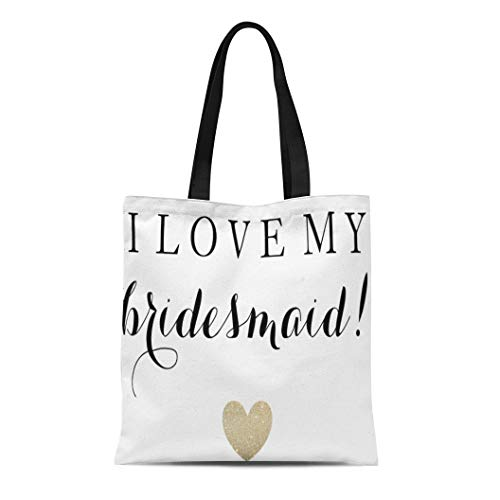 Semtomn Cotton Line Canvas Tote Bag Glam Market Bridesmaid Love Fab Wedding Fabulous Heart Maid Reusable Handbag Shoulder Grocery Shopping Bags