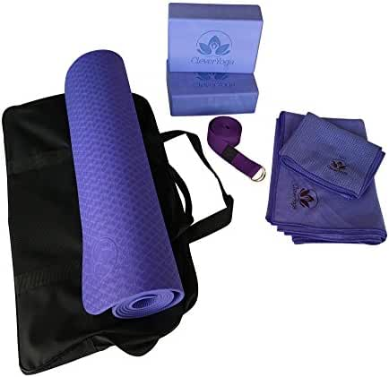 Clever Yoga Kit 7-Piece Set Bundle Including Ultra Thick 6mm TPE Mat, 2 Blocks, 8 Foot Yoga Strap, 1 Hand Towel, 1 Large Mat Towel and Extra Large Carrying Bag (Multiple Colors)
