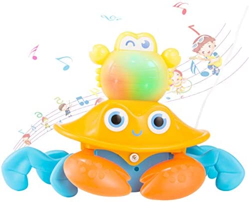 Biubee Crab Pull Toys- Animal Walker Early Education Baby Toys Children Pulling Crab Baby Dragging Toddlers Crawling Light Music Toys for Boys and Girls Toddler Babies