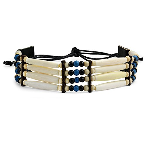 - Bling Jewelry Native American Style Handmade 4 Line Brown Buffalo Bone Hair Pipe Leather Tribal Wide Choker Necklace for Women