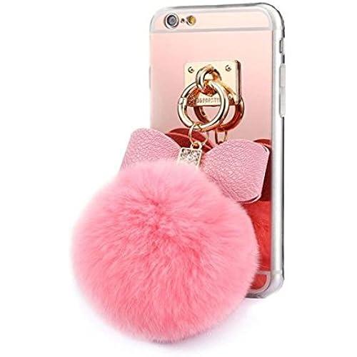 Galaxy S7 Case,Fusicase Cute Rabbit Plush Fur Ball Diamond Bow Bowknot Soft TPU Mirror Back Case Cover For Samsung Sales