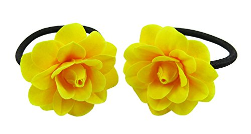 Rose Tail Yellow (1 Pair Rose Flower Elastic Hair Ties ,Ponytail Holders Choose the Color (Yellow))