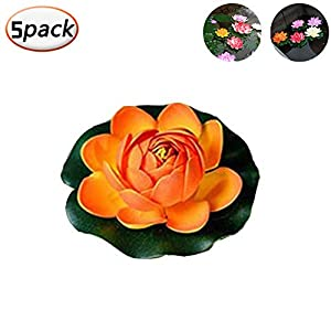 AYUEA Artificial Floating Lotus Flowers - Realistic Water Lily Pads Floating Flowers Set, Perfect for Home Garden Patio Pond Aquarium Swimming Pool Wedding Party Decor (Pack of 5) (Orange) 41