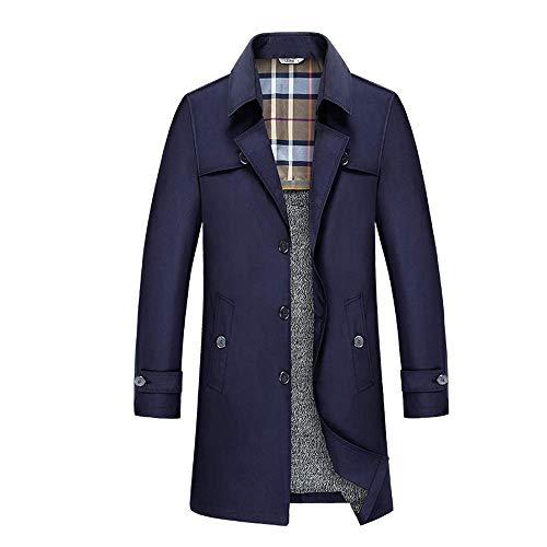 INVACHI Mens Single Breasted Trench Coat Slim Fit Overcoat Long Outdoor Jacket Turn Down Windbreaker