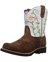 Kids' Fatbaby Blossom Western Cowboy Boot, Saddle Tan Suede, 13.5 M US Little Kid