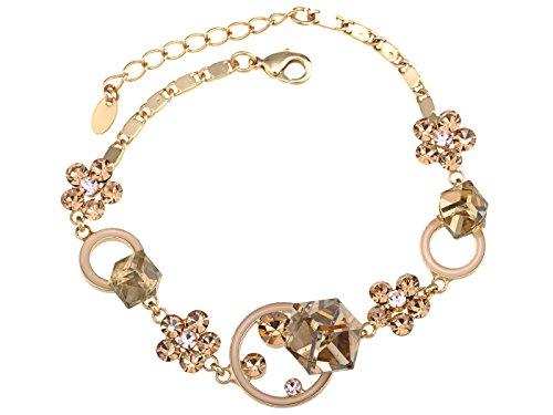 (Alilang Golden Tone Abstract Cube Flower Daisy Swarovski Crystal Element Bracelet Bangle)