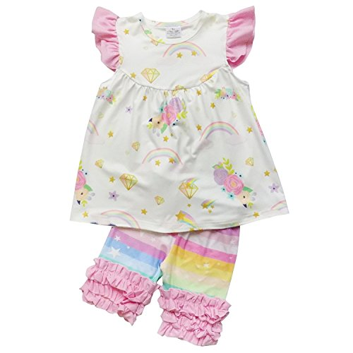So Sydney Girls Toddler 2-4 Pc Novelty Summer Shorts Or Skirt Outfit & Accessory (XS (2T), Unicorn Rainbow (Boutique Dress Set)