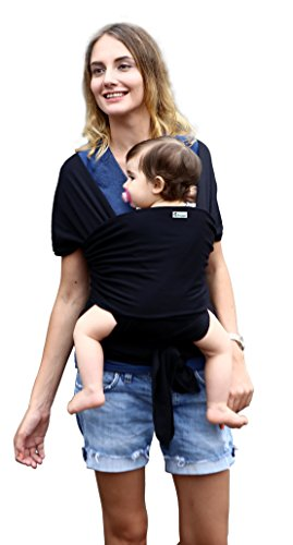 BabyGiggles Baby Wearing Wrap Carrier for Women & Men | Stretchy, Comfy, Soft & Breathable Sling | Use As Nursing Cover Or Postpartum Belt | Bond with Newborn, Go Hands Free, Breastfeeding (Black)