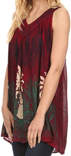 sans Sakkas manches Grand chemise Batik Blouse Loonmiya brod Top Bourgogne Longue Dbardeur AUxS4fWW