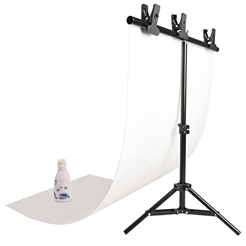 SUPON Photography 68cm x 72cm PVC Backdrop Background Small Support Stand System Metal+PVC Photo Photography Studio Lighting Backdrop Background Cloth 68cm x130cm White