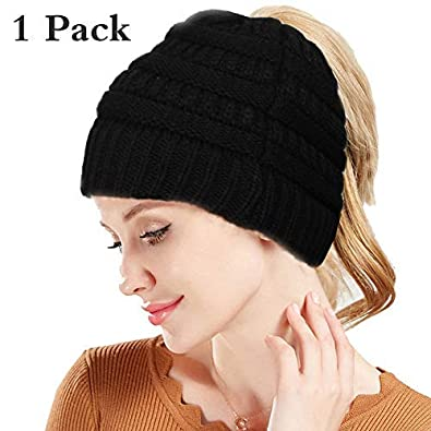 aaf7ae2d05b Amazon.com  LOYALLOOK BeanieTail Soft Stretch Cable Knit Messy High Bun  Ponytail Beanie Hat Black  Jewelry