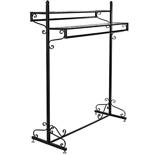 MyGift Victorian Style Boutique Clothes/Garment Display Rack w/Dual Hangrail & Cargo Shelves, Black