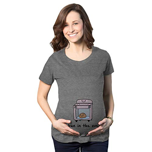 Maternity Bun in The Oven T Shirt Funny Pregnant T Shirts Pregnancy Announcement Ideas (Grey) S ()