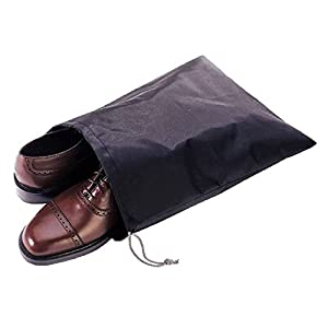 """Waterproof Nylon Dust-Proof Travel Bags with Drawstring Closure for Shoes Footwear Protection, Space Saving, Closet Home Organization Gift 15"""" x 12"""" (3 Pack)"""