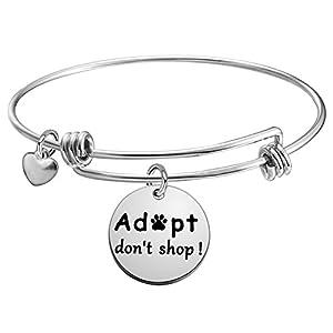 KUIYAI Adopt Don't Shop Dog Charity Bangle Bracelet Animal Lover Gift