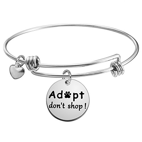 Adopt don't shop dog Charity Bangle Bracelet Animal Lover Gift (Adopt bracelet silver)